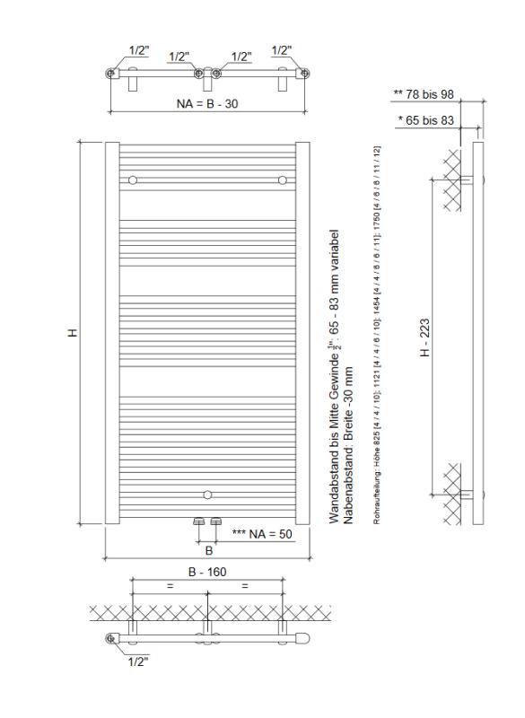 eco plus bad heizk rper mit mittelanschluss h825xb500 weiss w fisc 99 95. Black Bedroom Furniture Sets. Home Design Ideas