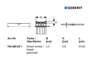 Geberit Duschrinne CleanLine20 KOMPLET- SET 30-130 cm 154451KS1 edelstahl/poliert geb.