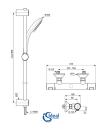 Ideal Standard CeraTherm T25 Brausethermostat AP SET mit Stange 90cm A7204AA